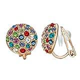 Yoursfs - Orecchini da donna a clip con cristalli, forma rotonda, placcati in oro 18 ct, con strass e Placcato oro, colore: Oro rosa/multicolore., cod. E063R2