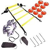 Jackys Velocidad de la Serie de Entrenamiento de la Agilidad, Ajustable Escalera de Agilidad, Resistencia paracaídas, Fútbol Velocidad Agilidad Conjunto de Entrenamiento con 12 Discos Conos,Naranja