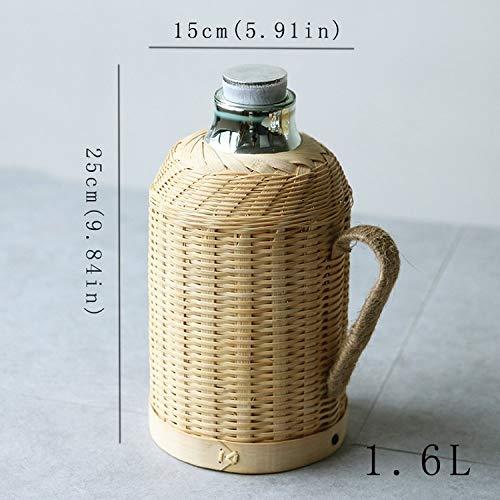 TGTG Handgemachte Bambusweberei Thermoskanne Topf Flasche für Wasser mit Korkdeckel und Handgriff Isolierflasche warm halten Glas innen groß,yellow1.6L