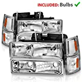 AmeriLite Clear Replacement Headlights Parking Turn Signal Sets For 94-98 Chevy Fullsize - Passenger and Driver Side
