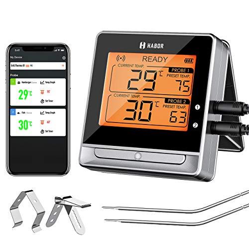 Habor Bluetooth Grillthermometer, BBQ Ofenthermometer Digital mit Doppelsonde, Fleischthermomete, 60M, Timer-Alarm, Großes Display, 11 Kostliche Einstellungen fur Kuche Grill, Steak