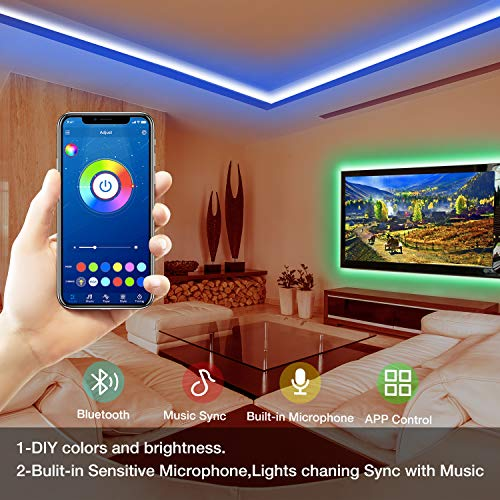 Daybetter SMD 5050 App Control Bluetooth Led Strip Lights- 50ft 6