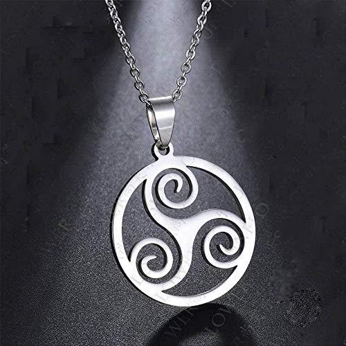 huangxuanchen co.,ltd Necklace Silver Color Triskelion Symbol T Necklace for Men Boy 20Inch Chains Link Necklaces Triskele Male Jewelry Gift