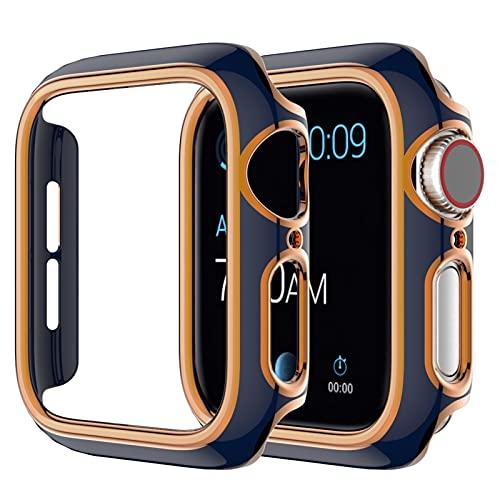 WSGGFA Funda de reloj para Apple Watch Series SE 6, 5, 4, 3, 2, 1, compatible con 38 mm, 40 mm, 42 mm, 44 mm (color de la correa: oro rosa azul, ancho de la correa: 42 mm