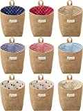 9 Pieces Mini Wall-Hanging Storage Bags Cotton Linen Foldable Storage Basket Box Decorative Hanging Bag -  Boao