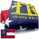 VSVO Georgia State Flag 3x5 ft. Embroidered 300D Heavy Duty Nylon for Outdoor/Indoor Use - Sewn Stripes, Brass Grommets, UV Protected, Fade Resistant US GA Flag