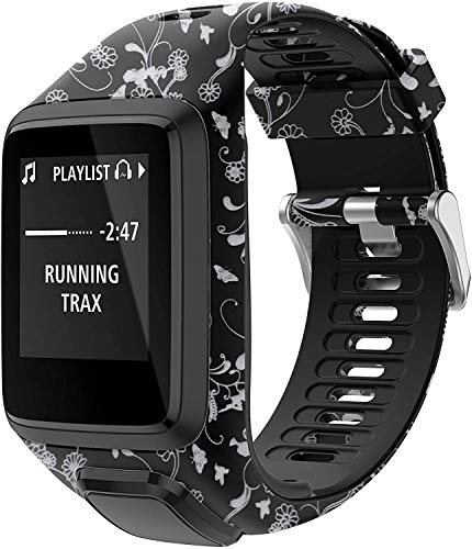 Axcellent Bandas para Tomtom Runner 2/3 Correa,Compatible con Spark 3/Golfer2/Adventurer,Banda de Repuesto Impresa de Goma-Accesorios para Reloj Inteligente con GPS