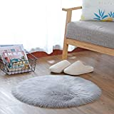 Kaihong - Alfombra de pelo largo sintético de calidad superior, imitación de piel de cordero, para utilizarse como alfombra de cama o sofá, poliéster, Redondo gris., 60 x 60 cm