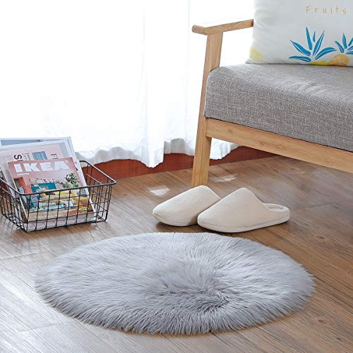 KAIHONG Faux Fur Sheepskin Style Rug (60 x 60 cm) Faux Fleece Chair Cover Seat Pad Soft Fluffy Shaggy Area Rugs For Bedroom Sofa Floor (Round Gray, 60 x 60 cm)