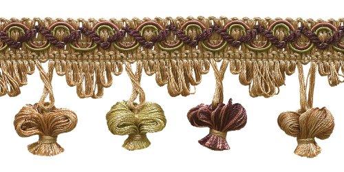 4.6 Meter Value Pack of Dusty Rose,Olive Green, Eggplant 51mm Imperial II Onion Tassel Fringe Style# NT2503 Color: OLIVE ROSE - 1010 (15 Ft)