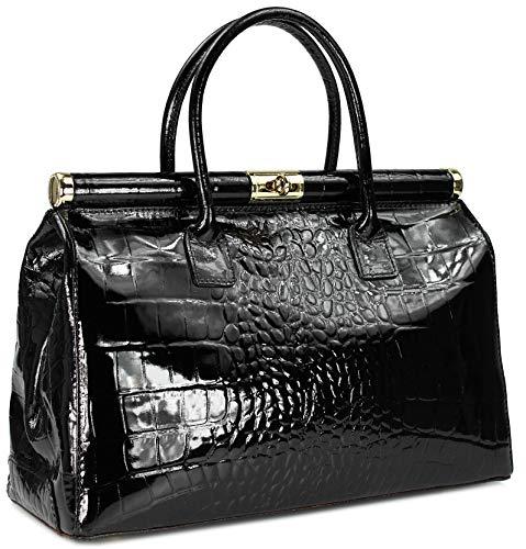 Belli 'The Bag XXL Leder Henkeltasche Handtasche Damen Ledertasche Umhängetasche - Farbauswahl - 38x26x18 cm (B x H x T) (Schwarz lack kroko)