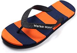 Men's Summer Flip Flops, Flexible And Resistant Slippers Sandals Comfortable Non-Slip Toe Post Thongs Beach Shoes for Apartments, Hotels, Houses,Travel,Orange,43/44