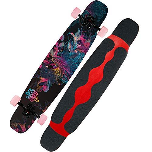 46 Zoll komplettes buntes Blume Longboard-Skateboard des Ahorns für Anfänger, Mädchen, Jungen, Freistil-Sturz-konkaves dauerhaftes abschüssiges kreuzendes Tanzen-Deck # 1