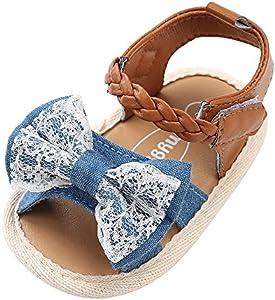 Sandalias niñas Xinantime Zapatos bebés de Verano para niñas Chica Sandalias con cinturón Tejido bebé Sneaker Zapatillas Planas Bowknot Zapatos Princesa Calzado (6-12 Meses, Azúl)