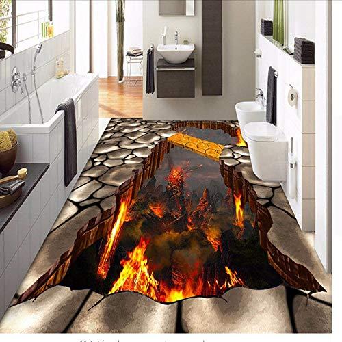 QThxqa Individuelle Bodentapete Lava Stone Magma 3D-Stereografische Bodenaufkleberfarbe PVC selbstklebende Tapete wasserdicht