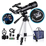 BNISE 70mm Portable Refractor Telescope & HD Binoculars, Fully Coated Glass Optics, Ideal