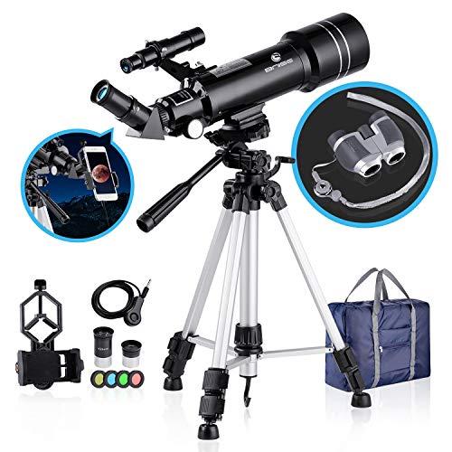 BNISE Telescopio Refractor Portátil de 70mm y Prismáticos HD, óptica de Vidrio Totalmente Recubierta, Ideal para Niños y Principiantes, con de para Trípode, Filtro de Luna