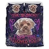wbinshey Colcha de edredón The Moment I Saw You I Love You Dog Yorkie Lindo juego de sábanas Categorías Estilo Europeo Color Negro Cama de matrimonio Blanco 66 x 90 pulgadas