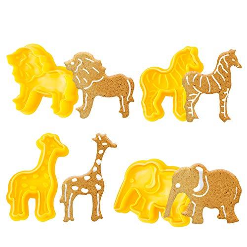 GWHOLE 4tlg Ausstechformen Tiere Kinder Ausstecher Silikon Elefant Löwe Pferd Giraffe für Keks Plätzchen Fondant Tortendekoration