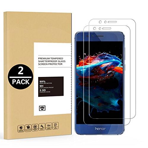 HülleLover [2 Pack] Huawei Honor 8 Panzerglas, 9H Panzerglasfolie, Huawei Honor 8 5,2 Zoll Folie/Schutzfolie, HD Bildschirmschutzfolie, Tempered Glass Schutzglas, Handy Glasfolie 3D Hartglas Protector