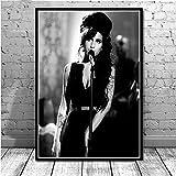 JYWDZSH Stampa su Tela Quadro su Tela Amy Winehouse Cantante di Musica Stampe per Poster Pop Donna Personalizzata Immagini Murali per Soggiorno