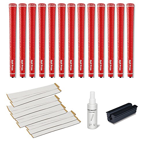 Golf Pride Tour Wrap 2G Red - 13 pc Golf Grip Kit (with Tape, Solvent, Vise clamp)