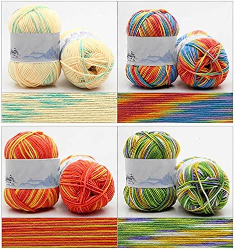 Hilados de algodón de doble punto de 50 g, 100% acrílico de 4 capas, hilo de ganchillo multicolor,...