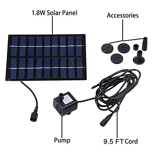 COSSCCI 1.8W Solar Fountain Water Pu   mp for Bird Bath Solar Power Foutnains Outdoor Garden Pond Fountain for Small Pool,Patio (Square)