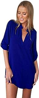 85595eb67 ISSHE Blusas de Vestir Manga Larga Cuello EN V Blusa Gasa Fiesta Camisas  Mujer Camisetas Largas