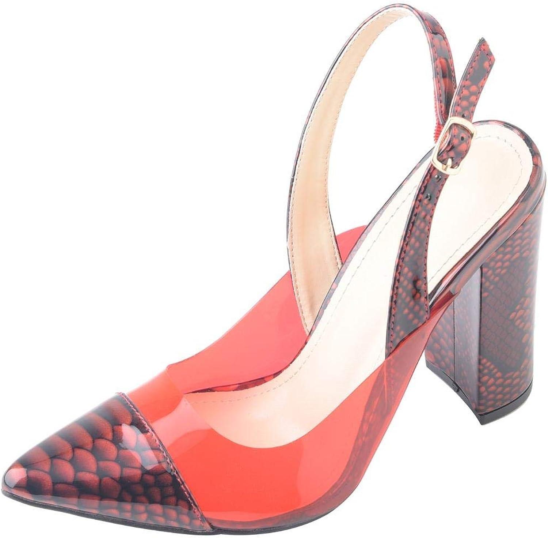 WSKEISP Womens Snakeskin Pointed Toe Block High Heels Mules Clear Slingback Ankle Strap Heeled Sandals