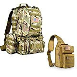 CVLIFE Military Tactical Backpack Army Assault Pack Detachable Molle Bag Rucksack & CVLIFE Tactical Sling Bag Pack