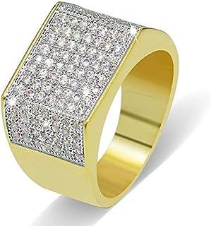 Anello Moda Hip Hop con Diamante Personalizzato Moca, Placcato in Oro 18 carati con Diamante simulato CZ per Donna