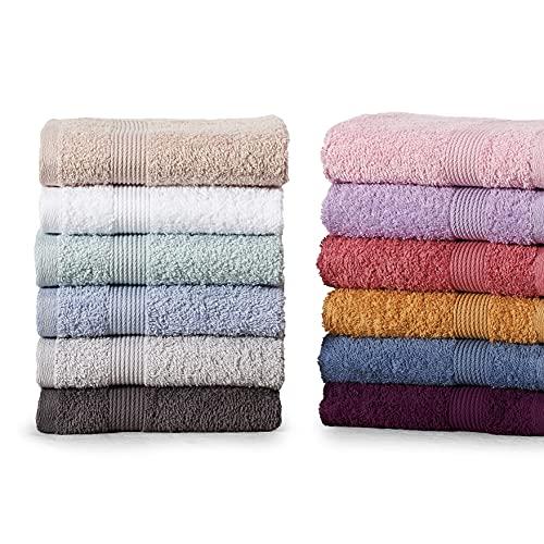PHRYGIANI Set di Asciugamani 30x50, 12 Pezzi in Vari Colori, 100% Cotone Turco, Per Ospiti, Per le Mani, Hotel, Spa e Palestra