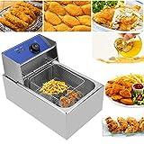 Friggitrice in acciaio inossidabile con Filtro e Coperchio, 2500 W, Capacitá 6 L, per cucinare patatine fritte, anelli di cipolla, pollo fritto, gamberetti