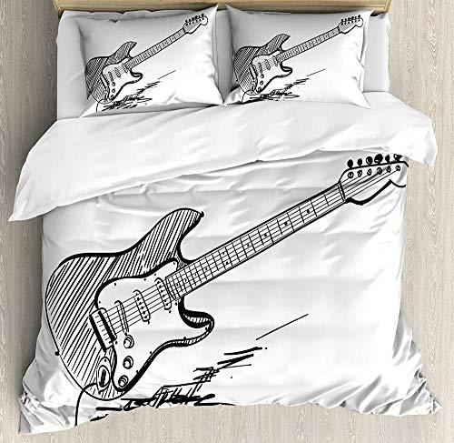 Conjunto de Funda nórdica de Guitarra Estilo Dibujado a Mano Guitarra eléctrica sobre Fondo Blanco Acuerdos de música Rock Sketch Art Decorativo (Funda nórdica + Funda de Almohada)