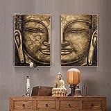 LKLKK Budismo Arte de la Pared Pintura al óleo Gris 2 Paneles Carteles e Impresiones en Lienzo Cuadro de Arte de Buda para Sala de Estar Decoración del hogar 50x70cmx2 (sin Marco)