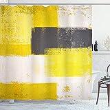ABAKUHAUS Abstrakt Duschvorhang, Grunge Pinselstriche, mit 12 Ringe Set Wasserdicht Stielvoll Modern Farbfest & Schimmel Resistent, 175x180 cm, Anthrazit grau Hellgelb Weiß