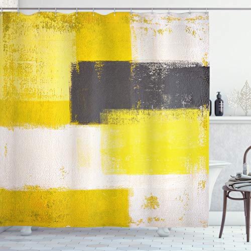 ABAKUHAUS Duschvorhang, Abstrakter Bemalung Pinselstriche Moderne Kunst in Gelb Weiß Schwarz Orange Tonen Digital Druck, Wasser & Blickdicht aus Stoff mit 12 Ringen Bakterie Resistent, 175 X 200 cm