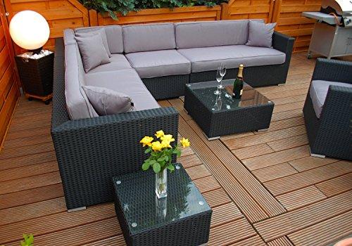 Ragnarök-Möbeldesign PolyRattan Lounge DEUTSCHE Marke - EIGNENE Produktion - 7 Jahre GARANTIE Garten Möbel incl. Glas und Polster (schwarz) Gartenmöbel - 4