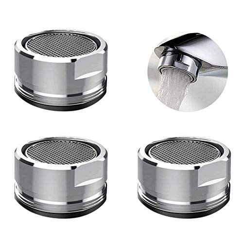 3 Pack Kitchen Faucet Aerator, Faucet Aerators Replacement Parts with Brass Shell, 15/16-Inch 24mm Male Thread Aerator Faucet Filter with Gasket For Kitchen, Bathroom (Male-24MM (3PCS))