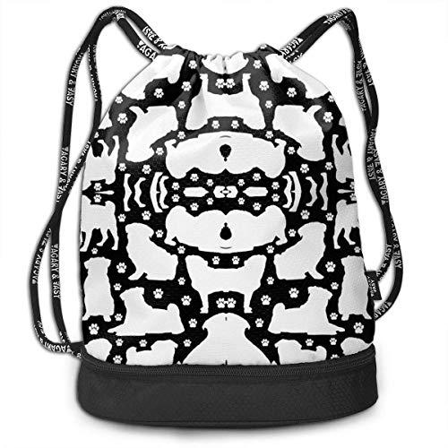 Pugs N Paws on Black Small Multi-Functional Unisex Beam Mouth Backpack&Drawstring Bundle Bag Backpack School Sport Gym Ajustable Cierre