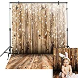 Funnytree 6x8ft Durable Fabric Soft Brown Wooden Floor Wrinkle Free Backdrop Bokeh Glitter Rustic Wood Wall Faux Retro Board Photography Background for Portrait Photo Booth Studio Props