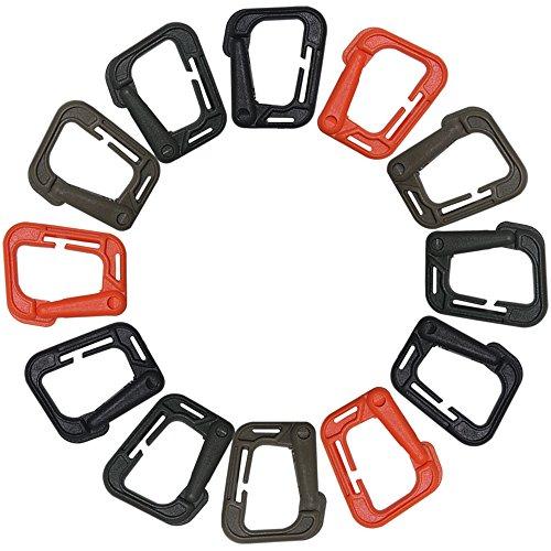 FineGood Lot de 12 mousquetons tactiques en plastique pour sangle Molle Marron Noir, Orange, Kaki