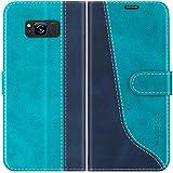 Mulbess Handyhülle für Samsung Galaxy S8 Hülle Leder, Samsung Galaxy S8 Handy Hüllen, Modisch Flip Handytasche Schutzhülle für Samsung Galaxy S8, Mint Blau