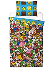 Super Mario Gang - Funda de edredón para Cama Individual, Reversible de Dos Caras Oficial Mario con Funda de Almohada a Juego
