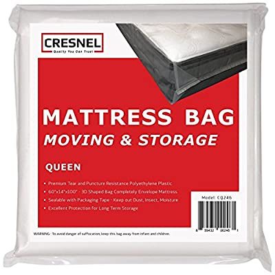 Mattress Bag for Moving & Long-Term Storage - Queen Size - Enhanced Mattress Protection with 5 mil Super Thick Tear & Puncture Resistance Polyethylene from CRESNEL