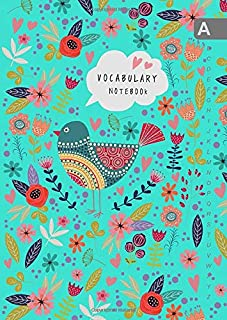 Vocabulary Notebook: B6 Notebook 2 Columns Small with A-Z Alphabetical Tabs Printed | Folk Bird and Floral Design Turquoise