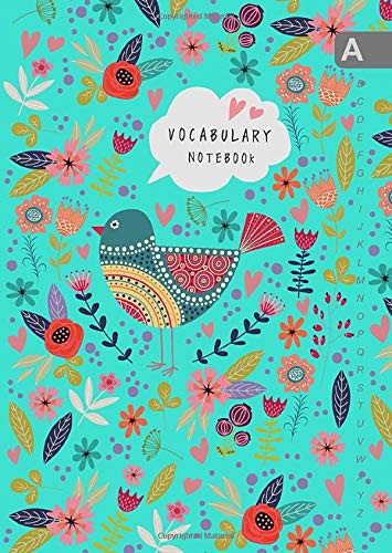 Vocabulary Notebook: B6 Notebook 2 Columns Small with A-Z Alphabetical Tabs Printed   Folk Bird and Floral Design Turquoise