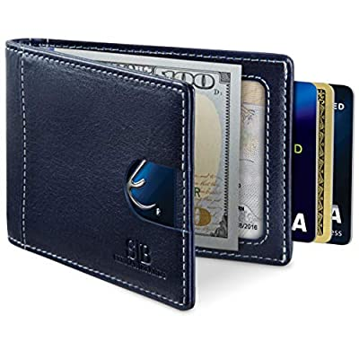 Travel Wallet RFID Blocking Bifold Slim Genuine Leather Thin Minimalist Front Pocket Wallets for Men Money Clip - Made From Full Grain Leather (Atlantic Blue 1.0)