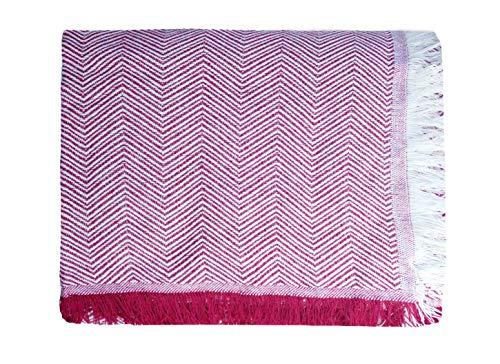 ADP Home - Plaid/Colcha Multiusos Zigzag Ideal para Cama o Sofá (Medida: 180x260 cm), Granate